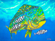 Blue Water Tapestries - Textiles Posters - Dorado and Pilot Fish Poster by Daniel Jean-Baptiste