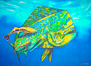 Marine Fish Tapestries - Textiles - Dorado and Remoras by Daniel Jean-Baptiste