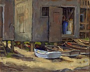 New England Village Originals - Dories on Fish Beach by Thor Wickstrom