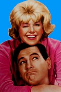 Doris Day Framed Prints - Doris Day Rock Hudson  Framed Print by Paul Van Scott