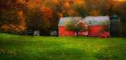 Country Roads Posters - Dorsett Vermont-Red Barn autumn Poster by Thomas Schoeller