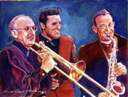 Saxophones Framed Prints - Dorsey Brothers Meet Elvis Framed Print by David Lloyd Glover