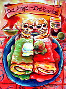Skeletons Posters - Dos Amigos Dos Burritos Poster by Heather Calderon