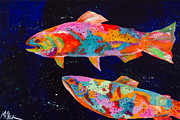 Trout Painting Originals - Dos Brown Trout by Tracy Miller