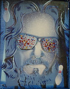 Big Lebowski Metal Prints - Dos Dudes Blue Metal Print by Christopher  Chouinard