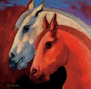 Abstracted Mixed Media Posters - Dos Equus Poster by Bob Coonts