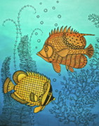 Fish Underwater Painting Originals - Dos Fishies by Stephanie Troxell
