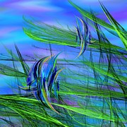 Abstract Impressionism Digital Art Prints - Dos Pescados en Salsa Verde Print by Wally Boggus