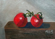 Vegetables Paintings - Dos Tomates or Two Tomatoes by Maria Soto Robbins