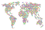 Planet Digital Art Prints - Dot Map of the World - colour on white Print by Michael Tompsett