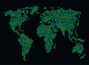 Planet Map Digital Art Posters - Dot Map of the World - green Poster by Michael Tompsett