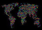 Globe Digital Art Posters - Dot Map of the World - multi colours Poster by Michael Tompsett