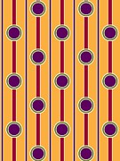 Color Purple Framed Prints - Dots And Lines Against Orange Background Framed Print by Lana Sundman