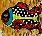 Waterlife Framed Prints - Dotted Fish Framed Print by Amy Carruth-Drum