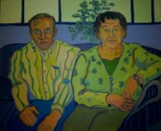 Purple Couch Posters - Dottie And Jerry Poster by Debra Bretton Robinson