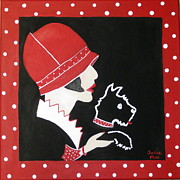 Scottie Paintings - Dottie with the Scottie 1 by Susan McLean Gray