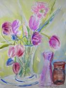 Vases Mixed Media Posters - Dottys Tulips Poster by Nancy Brennand
