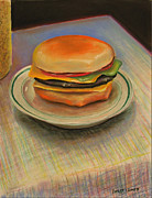 Lettuce Pastels Prints - Double Cheeseburger Print by GPaul Lucas