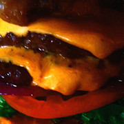 Fastfood Art - Double Cheeseburger With Bacon - Square - Painterly by Wingsdomain Art and Photography