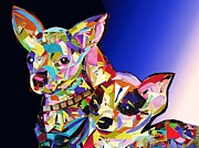 Chihuahua Abstract Art Posters - Double Chiwawa Poster by Julie Hiskett