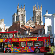 Gothic Cathedral Posters - Double Decker Bus and York Minster Poster by John Potter