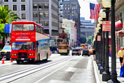 Highrise Building Prints - Double Decker Sightseeing Bus Along Powell Street In San Francisco California . 7D7269 Print by Wingsdomain Art and Photography