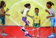 Skipping Rope Prints - Double Dutch Print by Charles M Williams