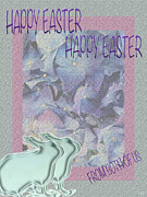Couples Mixed Media Prints - Double Easter Greetings Print by Debra     Vatalaro