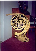 Wood Wall Hangings Mixed Media - Double French Horn by Val Oconnor