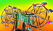 Amusement Rides Posters - Double fun Poster by David Lee Thompson