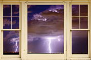 Lightning Weather Stock Images Framed Prints - Double Lightning Strike Picture Window Framed Print by James Bo Insogna