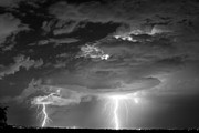 Striking Photography Prints - Double Lightning Strikes in Black and White Print by James Bo Insogna