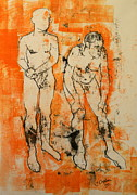 Monoprint Framed Prints - Double male nude Framed Print by Joanne Claxton