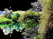 Umpqua River Prints - Double Moon Print by Will Borden