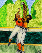 Softball Painting Posters - Double Play Poster by Phil Strang