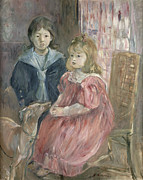 Thomas Framed Prints - Double portrait of Charley and Jeannie Thomas Framed Print by Berthe Morisot