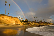 Sandstone Bluffs Posters - Double Raibow over Laguna Beach Poster by Cliff Wassmann