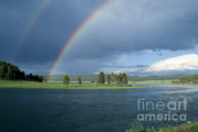 Yellowstone Photos - Double Rainbow at Alum Creek by Sandra Bronstein