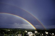 Double Rainbow Over A Town Print by Pekka Parviainen