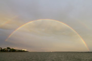 Double Framed Prints - Double Rainbow over Charleston Harbor Framed Print by Dustin K Ryan