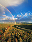 Gravel Road Prints - Double Rainbow Over Farmland Near Jamestown, South Australia Print by Peter Walton Photography