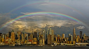 Nyc Architecture Posters - Double Rainbow Over NYC Poster by Susan Candelario