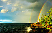 Abbaye Prints - Double Rainbow Over Point Abbaye Print by Matthew Winn