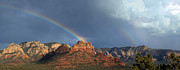 Monsoon Digital Art Framed Prints - Double Rainbow Over Sedona Framed Print by Dan Turner