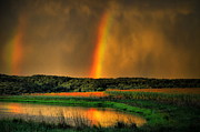 Country Scenes Metal Prints - Double Reflection Rainbow Metal Print by Emily Stauring