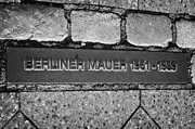 Berlin Art - double row of bricks across berlin to mark the position of the berlin wall berliner mauer Germany by Joe Fox