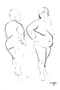 Nudes Drawings - Double standing female nude by Joanne Claxton
