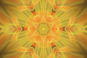Gold Lime Green Art - Double Star Abstract by Linda Phelps