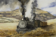 Train Paintings - Double Teamin to Cumbres Pass by Sam Sidders