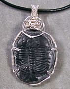 Grey Black Jewelry - Double Trilobite Fossil Piggyback Pendant by Heather Jordan
